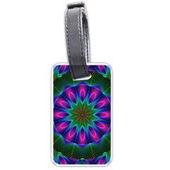 Star Of Leaves, Abstract Magenta Green Forest Luggage Tag (Two Sides)