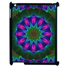 Star Of Leaves, Abstract Magenta Green Forest Apple Ipad 2 Case (black)