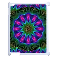 Star Of Leaves, Abstract Magenta Green Forest Apple iPad 2 Case (White)
