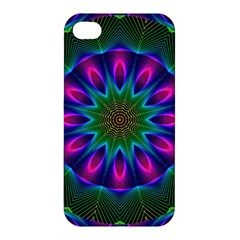 Star Of Leaves, Abstract Magenta Green Forest Apple Iphone 4/4s Premium Hardshell Case