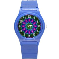 Star Of Leaves, Abstract Magenta Green Forest Plastic Sport Watch (small)