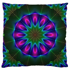 Star Of Leaves, Abstract Magenta Green Forest Large Cushion Case (Two Sided)
