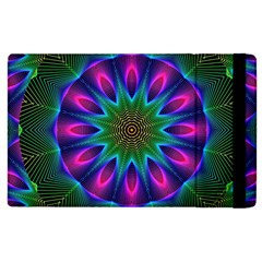 Star Of Leaves, Abstract Magenta Green Forest Apple iPad 3/4 Flip Case
