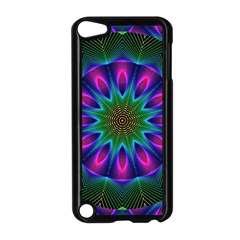 Star Of Leaves, Abstract Magenta Green Forest Apple iPod Touch 5 Case (Black)