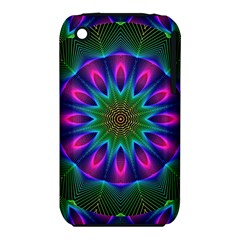 Star Of Leaves, Abstract Magenta Green Forest Apple iPhone 3G/3GS Hardshell Case (PC+Silicone)