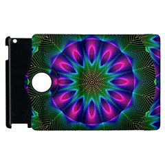 Star Of Leaves, Abstract Magenta Green Forest Apple Ipad 2 Flip 360 Case