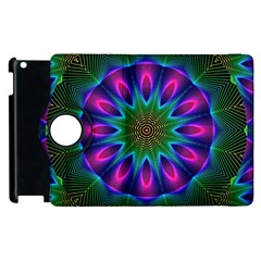 Star Of Leaves, Abstract Magenta Green Forest Apple iPad 3/4 Flip 360 Case