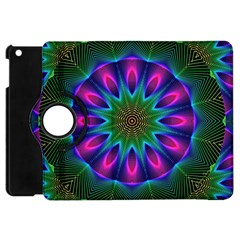 Star Of Leaves, Abstract Magenta Green Forest Apple iPad Mini Flip 360 Case