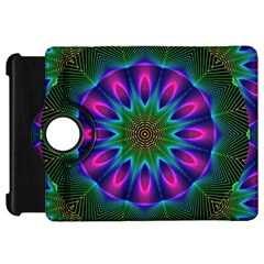 Star Of Leaves, Abstract Magenta Green Forest Kindle Fire HD 7  (1st Gen) Flip 360 Case
