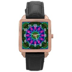 Star Of Leaves, Abstract Magenta Green Forest Rose Gold Leather Watch