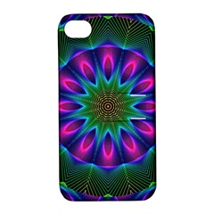 Star Of Leaves, Abstract Magenta Green Forest Apple Iphone 4/4s Hardshell Case With Stand