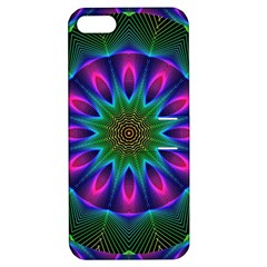 Star Of Leaves, Abstract Magenta Green Forest Apple Iphone 5 Hardshell Case With Stand
