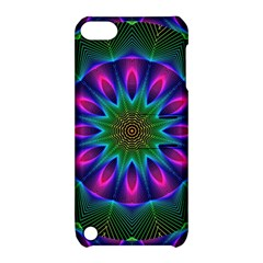 Star Of Leaves, Abstract Magenta Green Forest Apple iPod Touch 5 Hardshell Case with Stand