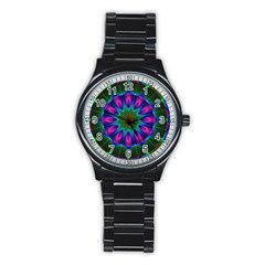 Star Of Leaves, Abstract Magenta Green Forest Sport Metal Watch (Black)