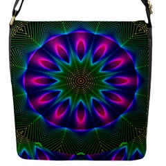 Star Of Leaves, Abstract Magenta Green Forest Flap Closure Messenger Bag (Small)