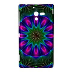 Star Of Leaves, Abstract Magenta Green Forest Sony Xperia ZL (L35H) Hardshell Case