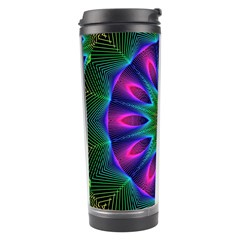 Star Of Leaves, Abstract Magenta Green Forest Travel Tumbler