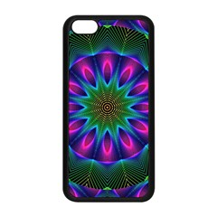 Star Of Leaves, Abstract Magenta Green Forest Apple iPhone 5C Seamless Case (Black)