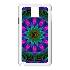 Star Of Leaves, Abstract Magenta Green Forest Samsung Galaxy Note 3 N9005 Case (White)