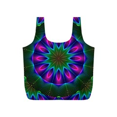 Star Of Leaves, Abstract Magenta Green Forest Reusable Bag (S)