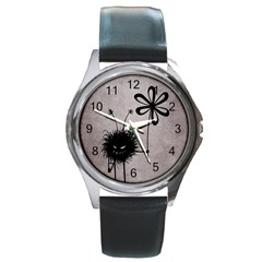 Evil Flower Bug Vintage Round Leather Watch (Silver Rim)