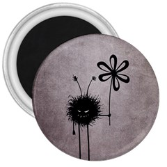 Evil Flower Bug Vintage 3  Button Magnet