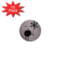 Evil Flower Bug Vintage 1  Mini Button (10 pack)