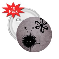 Evil Flower Bug Vintage 2.25  Button (10 pack)