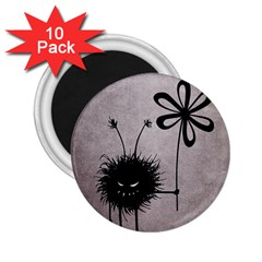 Evil Flower Bug Vintage 2.25  Button Magnet (10 pack)