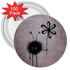 Evil Flower Bug Vintage 3  Button (100 pack)