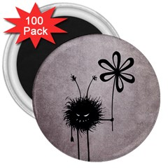 Evil Flower Bug Vintage 3  Button Magnet (100 pack)