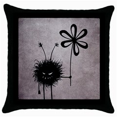 Evil Flower Bug Vintage Black Throw Pillow Case
