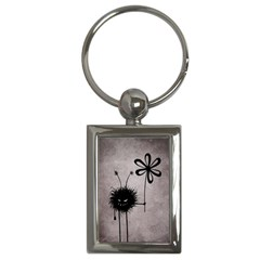 Evil Flower Bug Vintage Key Chain (rectangle)
