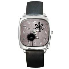 Evil Flower Bug Vintage Square Leather Watch