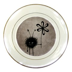 Evil Flower Bug Vintage Porcelain Display Plate