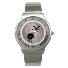 Evil Flower Bug Vintage Stainless Steel Watch (Slim)