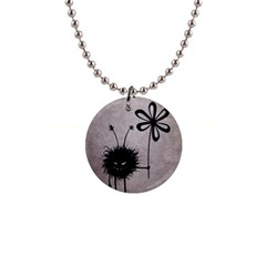Evil Flower Bug Vintage Button Necklace