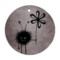 Evil Flower Bug Vintage Round Ornament (Two Sides)