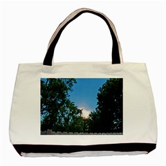 Coming Sunset Accented Edges Twin Sided Black Tote Bag