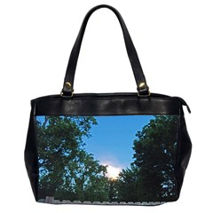 Coming Sunset Accented Edges Oversize Office Handbag (Two Sides)