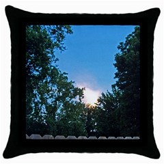 Coming Sunset Accented Edges Black Throw Pillow Case