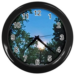 Coming Sunset Accented Edges Wall Clock (Black)