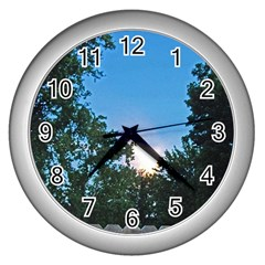 Coming Sunset Accented Edges Wall Clock (Silver)