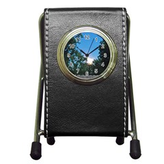 Coming Sunset Accented Edges Stationery Holder Clock
