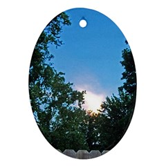 Coming Sunset Accented Edges Oval Ornament (Two Sides)