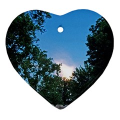 Coming Sunset Accented Edges Heart Ornament (Two Sides)