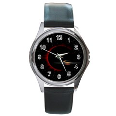 Altair Iv Round Leather Watch (silver Rim)
