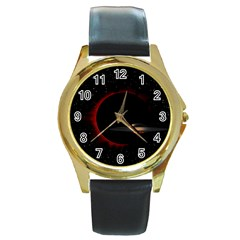 Altair IV Round Leather Watch (Gold Rim)