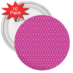 Pink Kaleidoscope 3  Button (10 pack)