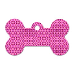Pink Kaleidoscope Dog Tag Bone (Two Sided)